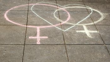 High angle view of two female symbols drawn on the road with a heart shape