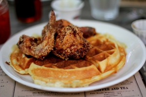 Plate of fired chicken and waffles