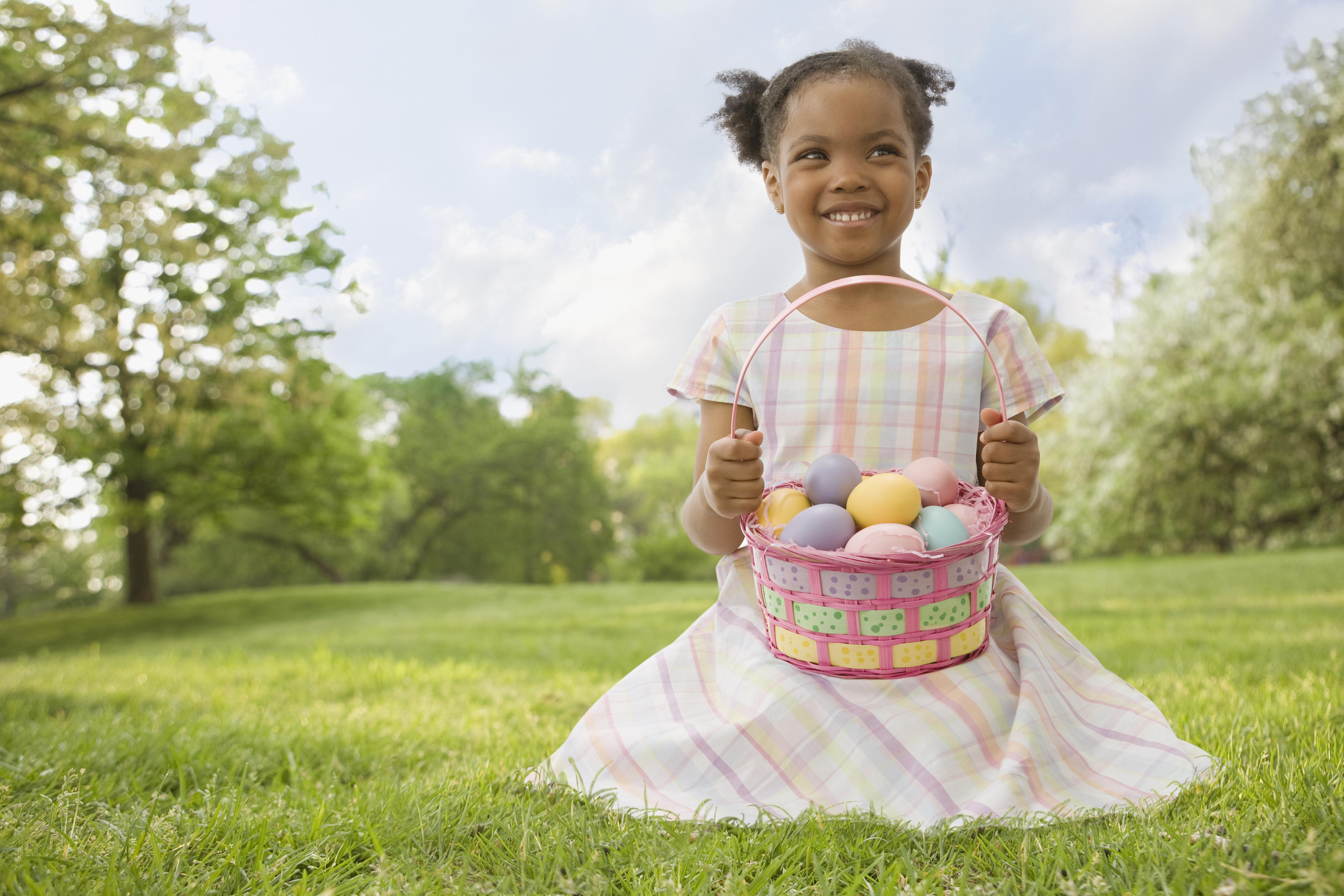 African girl holding Easter basket