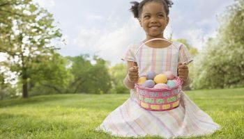 African girl holding Easter basket
