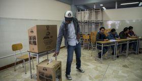 Ecuador's presidential election candidate Lenin Moreno casts his vote