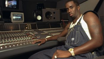 Sean 'Puffy' Combs in recording studio on 44th St.