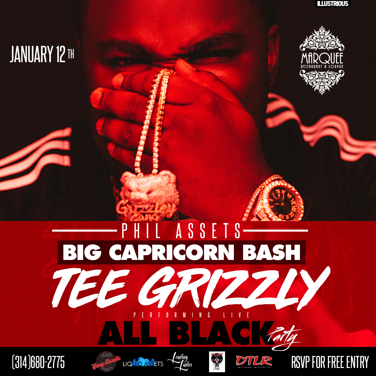 Tee Grizzley at All Black Party