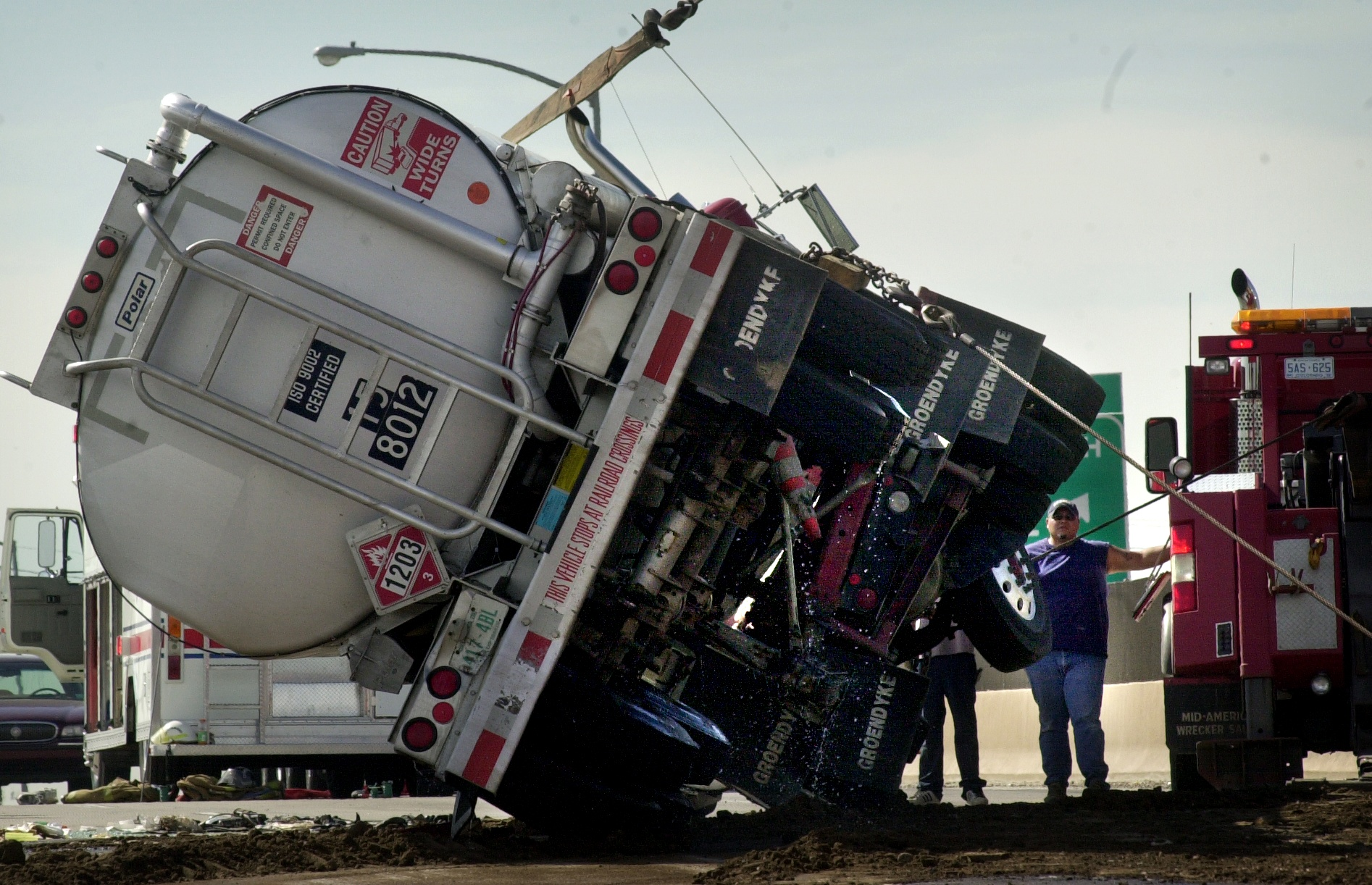 At 6am this tanker truck overturned on Interstate 270 east after using the north bound ramp from Vasquez Blvd. According to State Trooper Mark Bills The tanker owned by Groendyke Transport Inc (Enid / Okla) carried 8500 gallons of unleaded fuel and spille