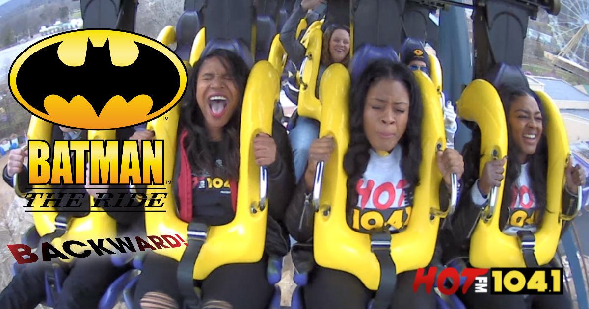 Tropikana Rides Batman The Ride Backward! Six Flags St. Louis