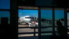 Alaska Airline boards at Long Beach