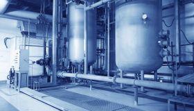 Large industrial boiler room