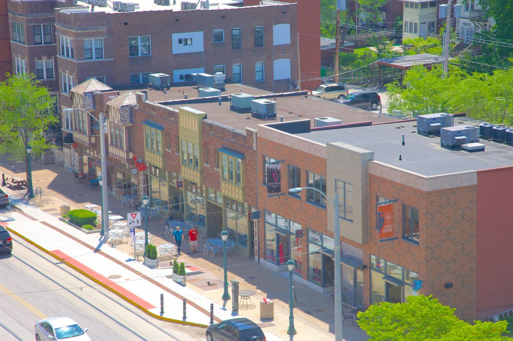 View from above of Delmar Blvd in The Loop, St. Louis