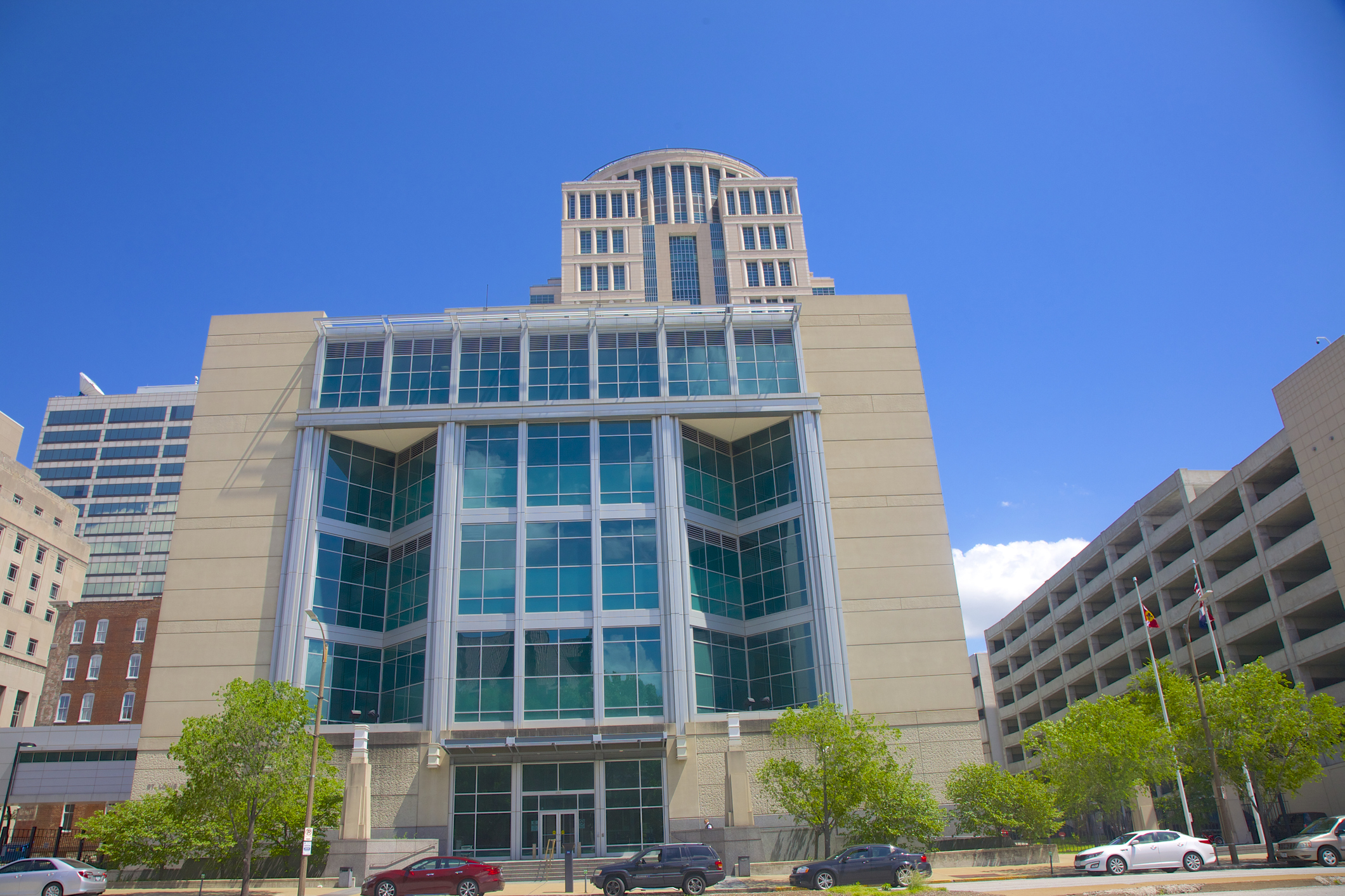 Modern glass-front of City Justice Center, St. Louis