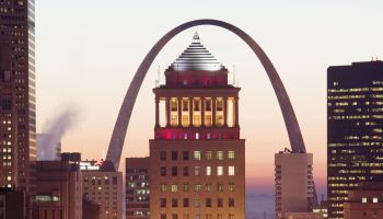 Downtown & Gateway Arch from the West at dawn. St. Louis. Missouri, USA.