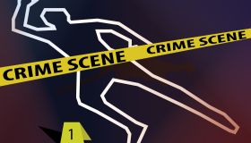 Crime scene with body outline - Illustration
