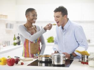 Interracial Couple In The Kitchen