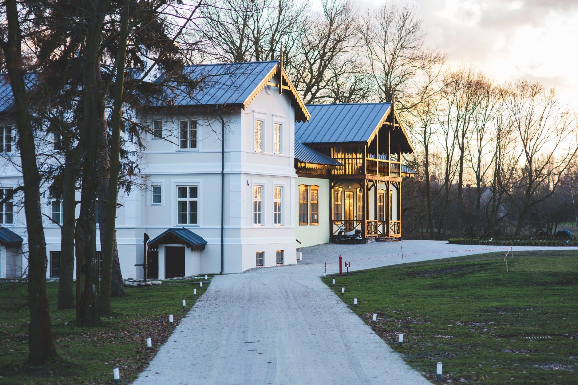 old luxury villa exterior