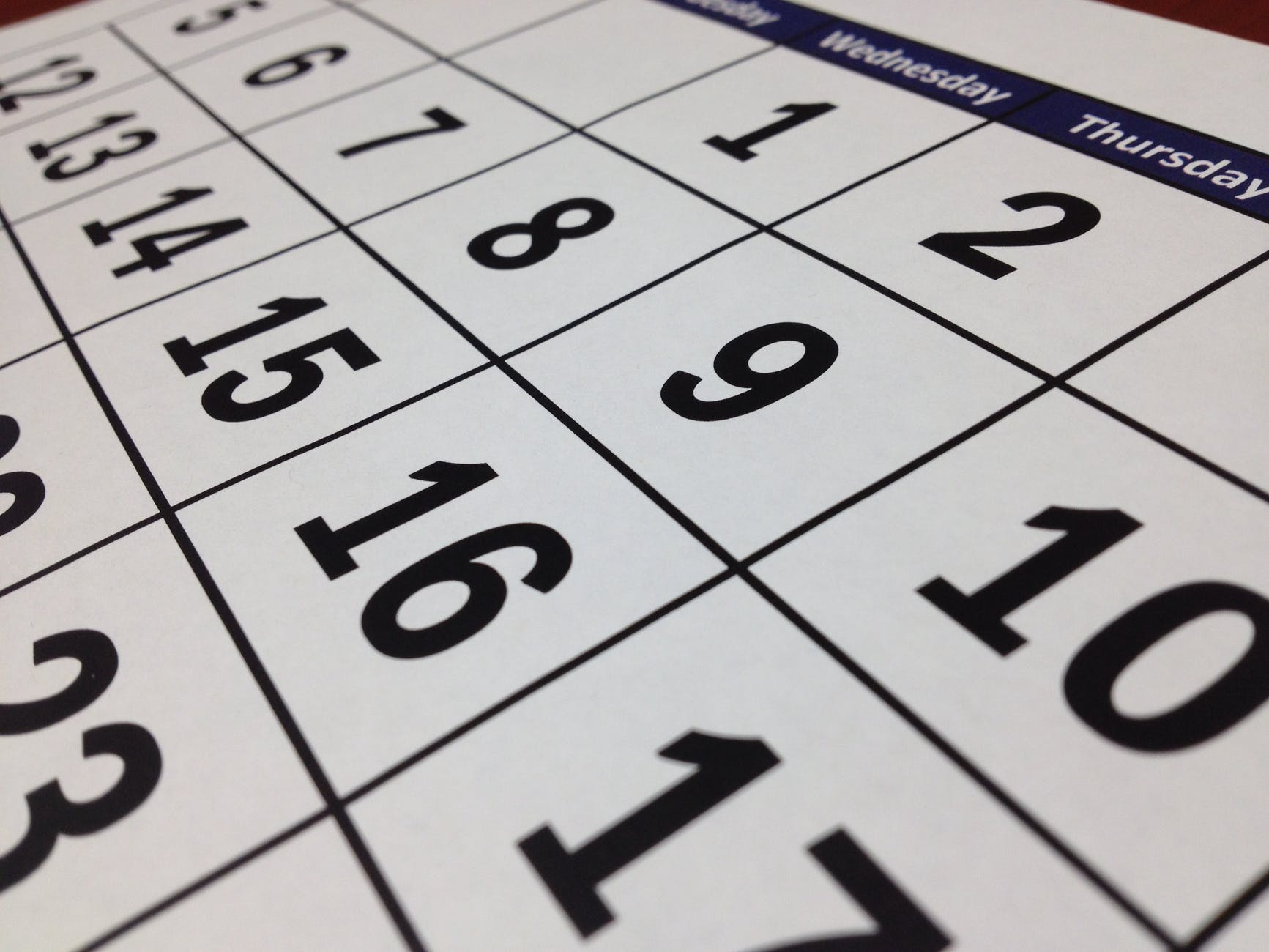black calendar close up composition
