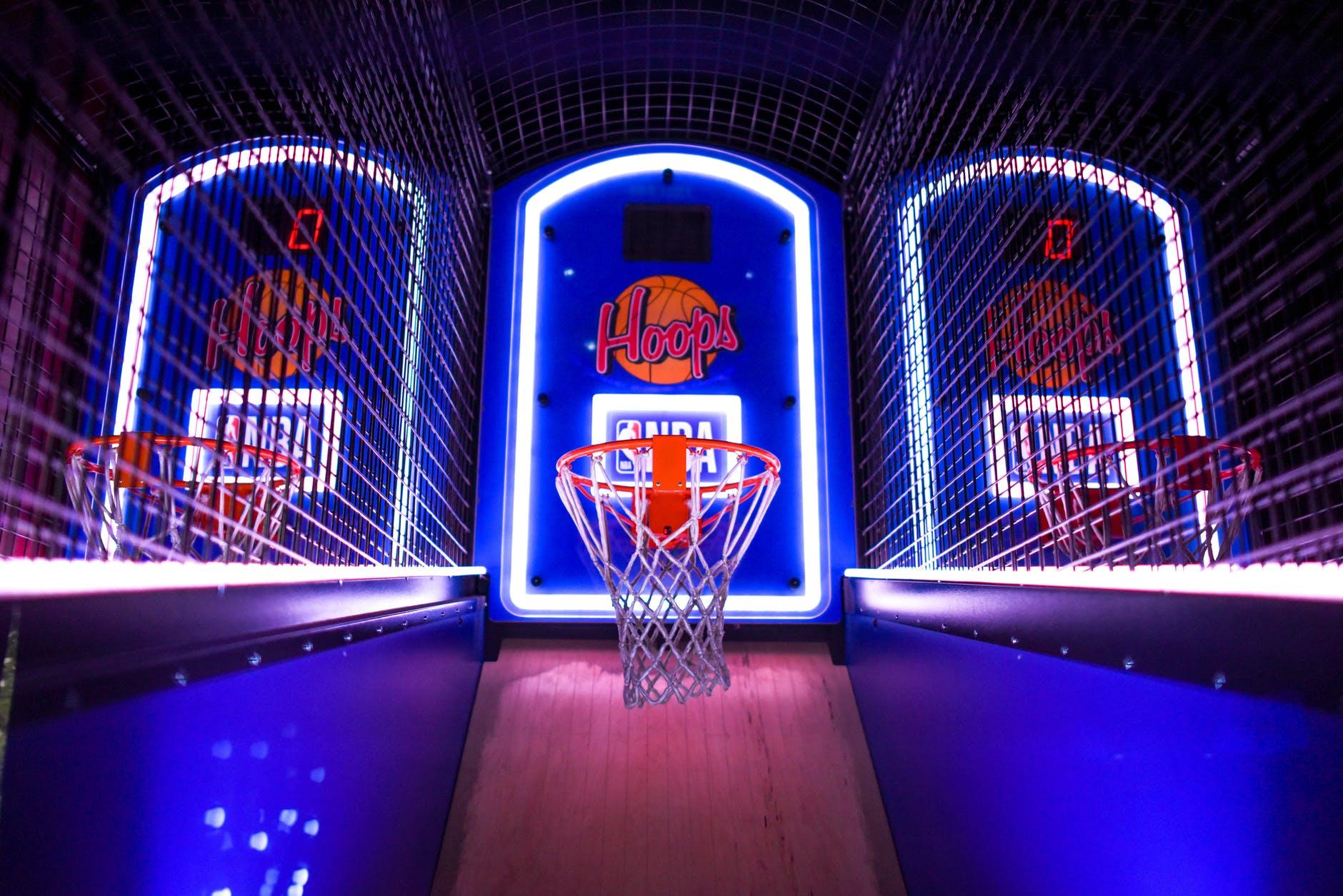 closeup photo of basketball arcade