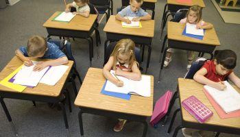 Children at desks in school