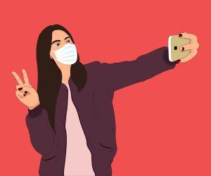 Selfie with coronavirus mask